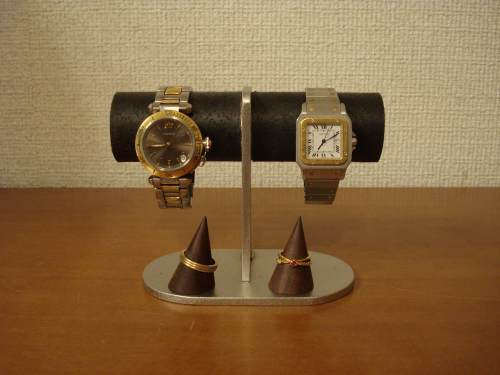 アクセサリースタンド 2本掛けダブルリングスタンドブラック腕時計スタンド