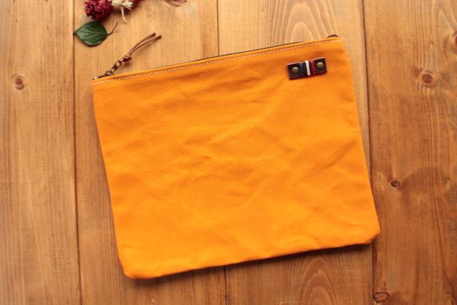 H901 帆布シンプルポーチ Lサイズ -柿色-