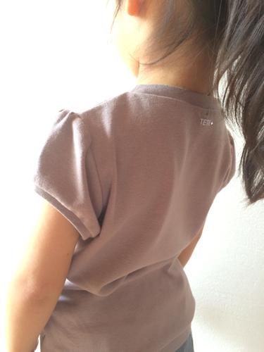 【size100】キッズ パフスリーブTシャツ(あずきミルク)