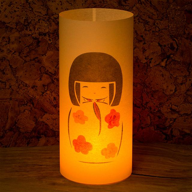 和紙ランプ「こけし」手描きLEDあんどん