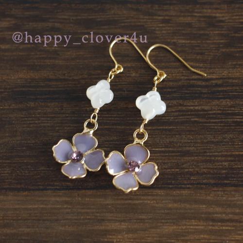 紫陽花(あじさい)とシェルのピアス/p577