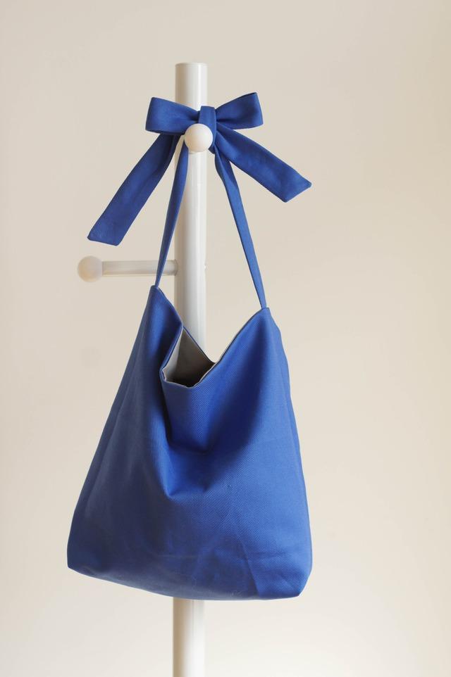リボンのバッグ(ブルー×グレー )