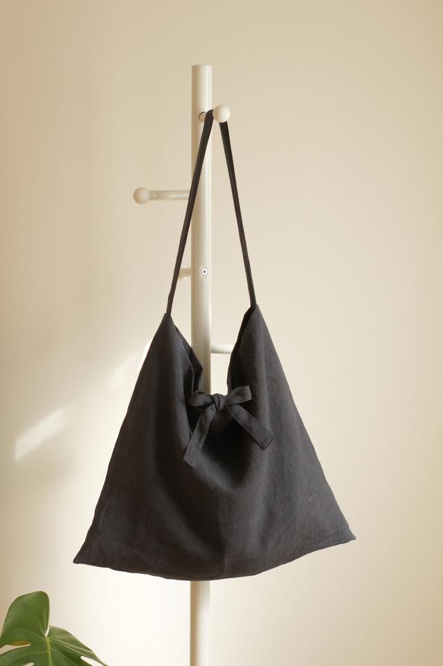 リネンリボンのショルダーバッグ(ネイビー)