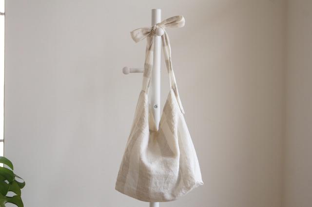 リネンリボンのバッグ(太ストライプ)