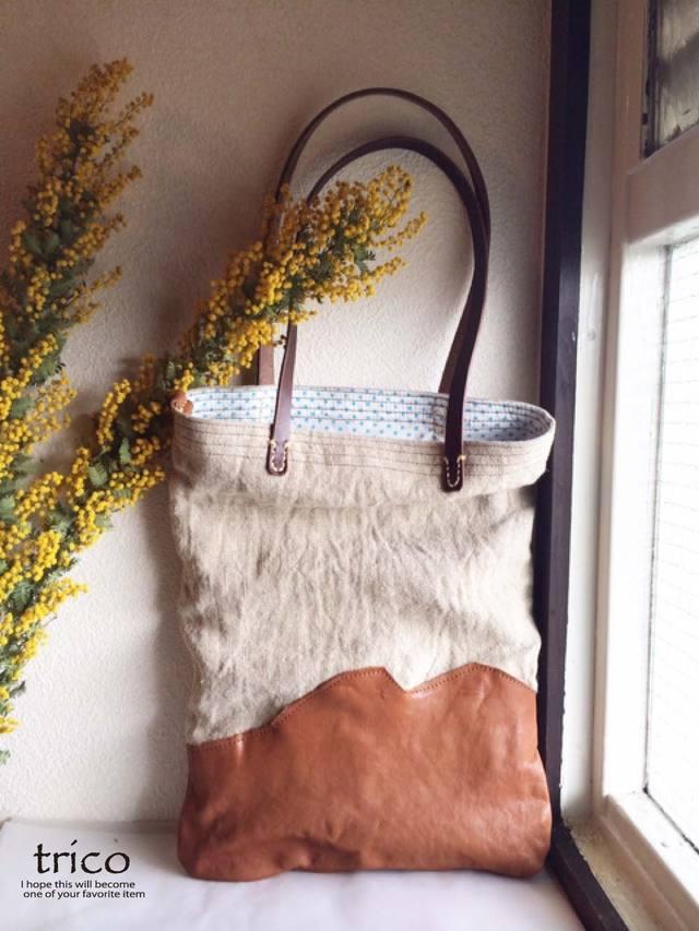 革とリネンのバッグ