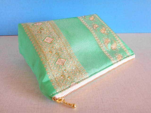 チュニジア布の四角いポーチ(ミント)