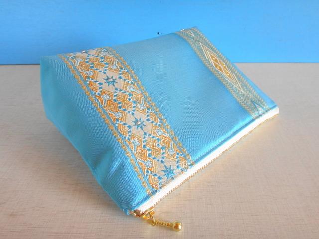 チュニジア布の四角いポーチ(ブルー)