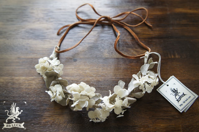 pecottaさま 予約品  necklace 【 布花ネックレス *hydrangea , bishop's weed & eucalyptus 】