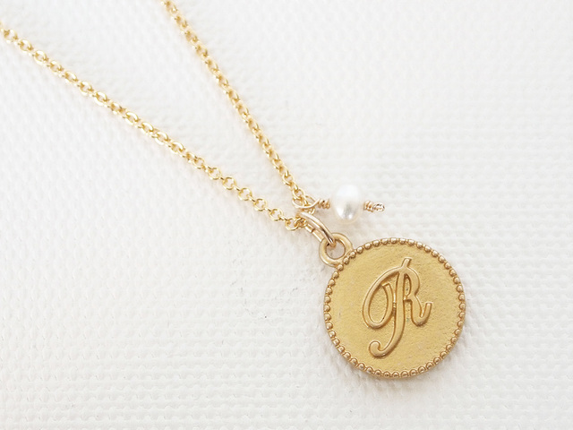 14KGF Initial Coin Necklace