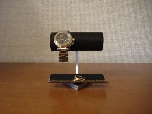 腕時計スタンド 2本掛けトレイ付きウォッチスタンド ブラック