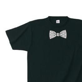 【再販】だまし絵 水玉 蝶ネクタイ(リボン) S〜XL  Tシャツ 【受注生産品】