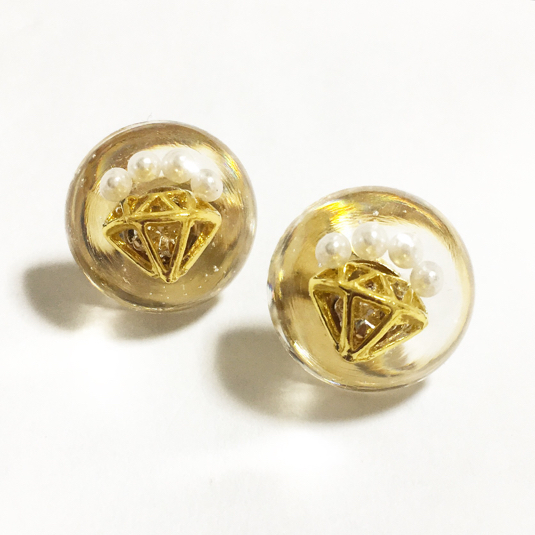 【送料無料】Diamond pearl dome pierce