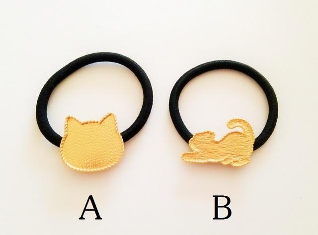 【B】 皿付きコンチョポニーゴム 猫