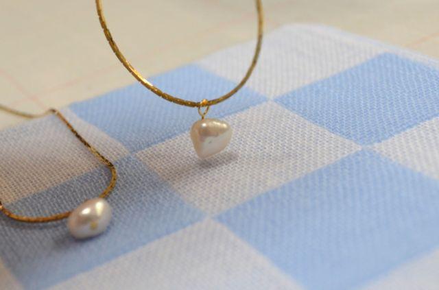 淡水パールのひと粒ネックレス(ホワイト) 【送料無料】