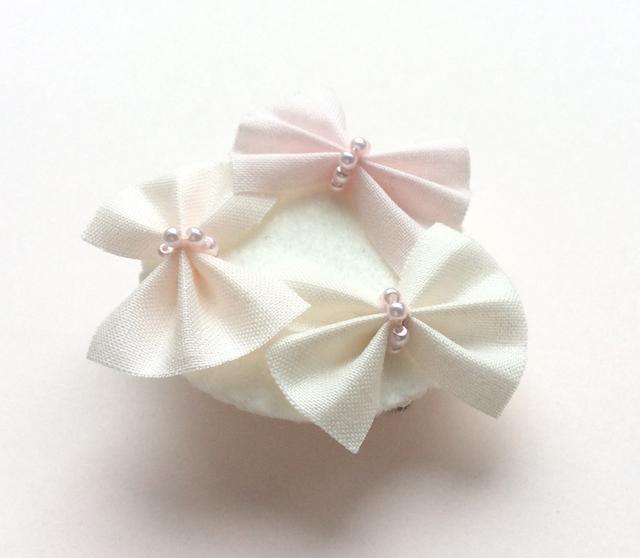 リボンのブローチ*ピンク