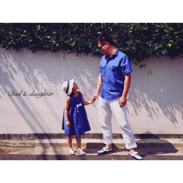 ?パパと娘のためのデート服vol.1?イタリアンブルーピンドットシャツ&ワンピースセット