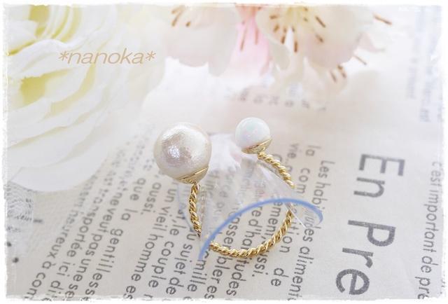 【NEW】 京都オパールホワイトとコットンパールのフォークリング