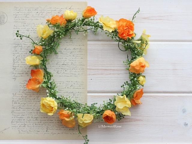 スイトピーとラナンキュラスの花冠*ビタミンカラー