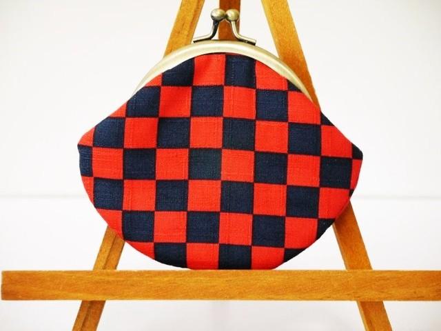 市松模様のがま口コインケース(赤×紺)