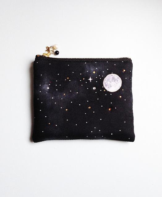 送料無料!夜空と星と満月のティッシュケースポーチ