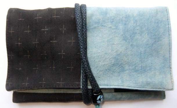 着物リメイク 藍染の生地で作った和風財布 1436