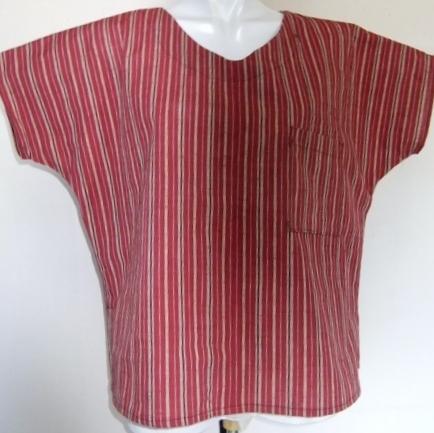 着物リメイク 綿紬の着物で作ったTシャツ 1437