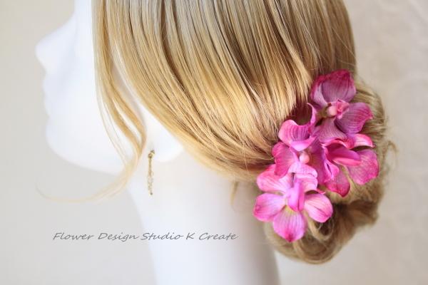 浴衣に★ローズピンクの蘭のUピン(RPK S:4本セット)