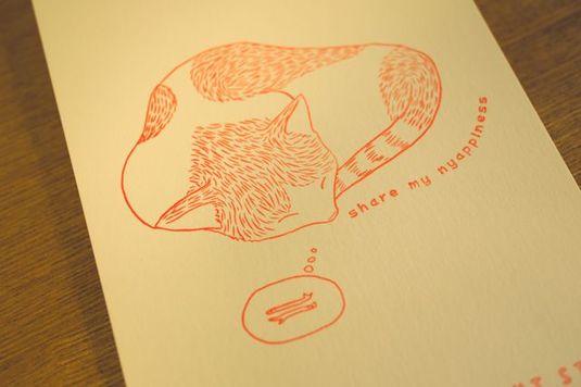 寝る猫レタープレスポストカード 2枚セット