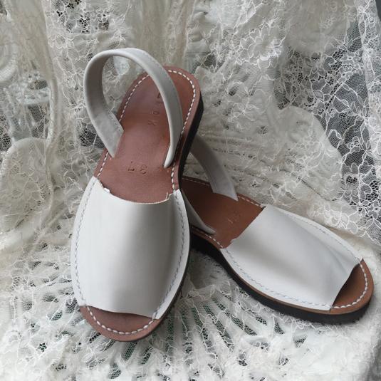 靴擦れしない長く歩ける本革オーダーメイドサンダル★☆ホワイト