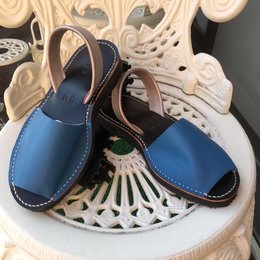 靴擦れしない長く歩ける本革オーダーメイドサンダル★☆ブルー