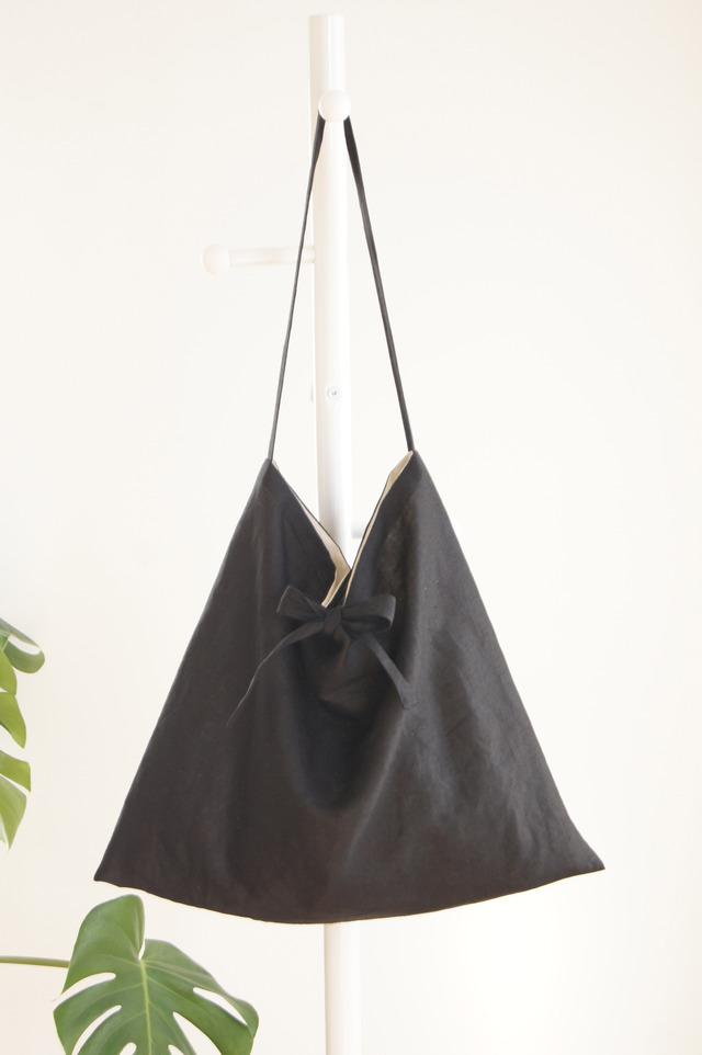リネンリボンのショルダーバッグ(ブラック)