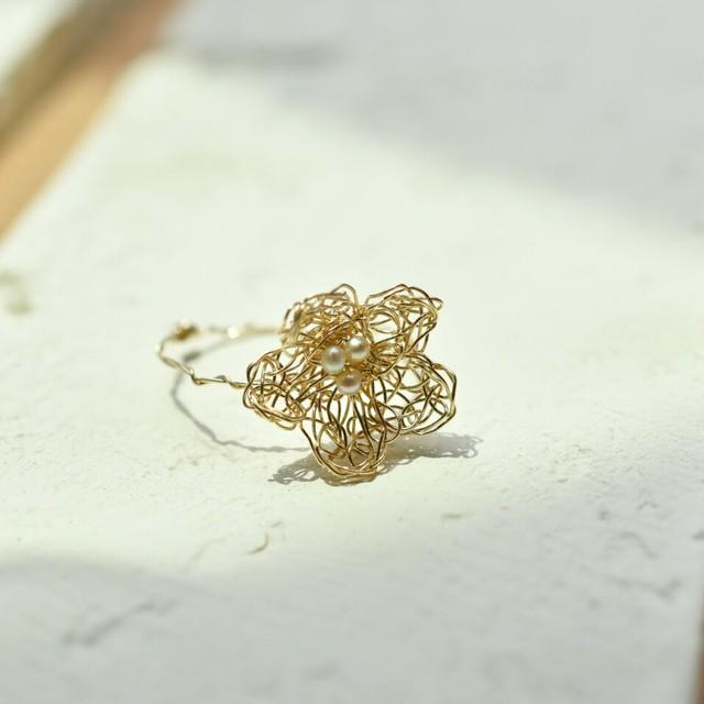 [14KGF] くさり編み花モチーフ*ゴールドフィルド巻きリング