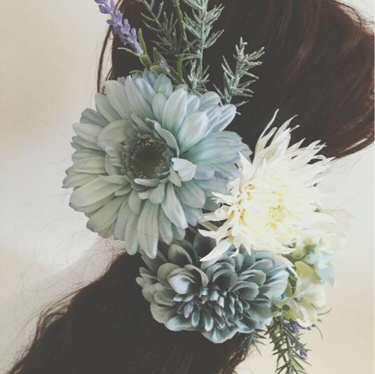 くすみブルーナチュラルヘッドドレス 花飾り ドレス 結婚式 ...