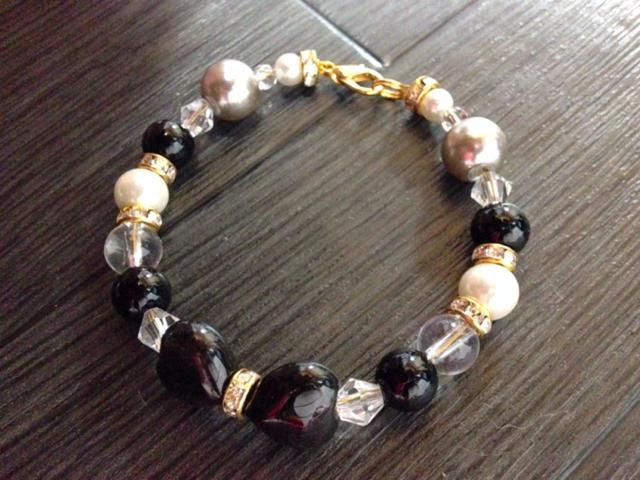 モリオン(黒水晶)おリボン大人姫系 ブレスレット パワーストーン 天然石