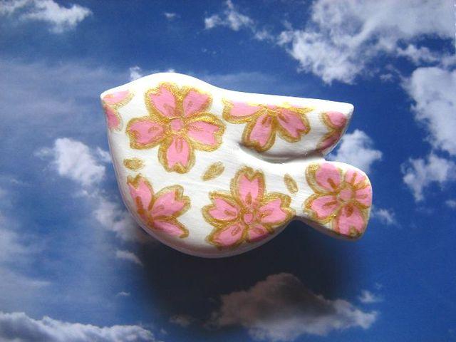 鳥さんマグネット〜とりまぐ〜 金縁桜