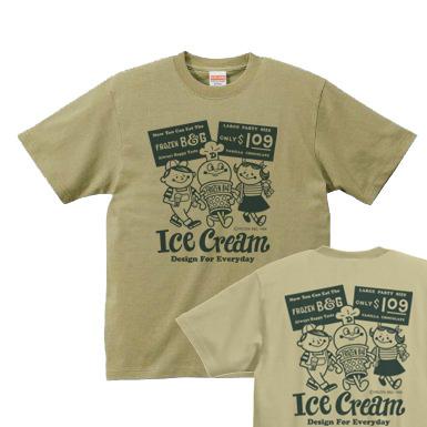 アイスクリームBoy&Girl☆アメリカンレトロ 両面 XS(女性XS〜S)   Tシャツ【受注生産品】