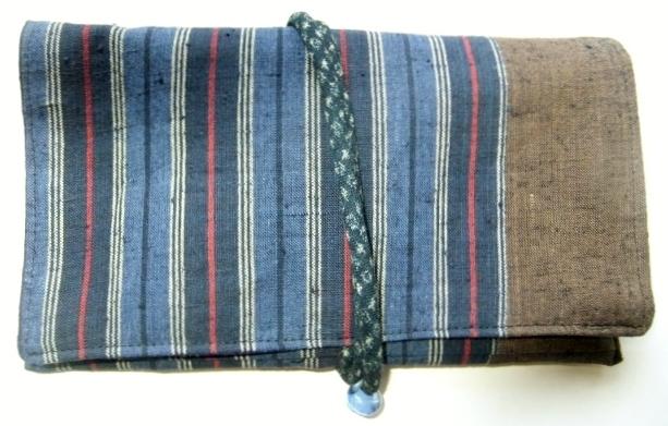 着物リメイク 土佐紬で作った和風財布 1442