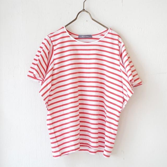 <販売開始!>エーゲ海コットンボーダーフリル袖トップス(salmon red × white)