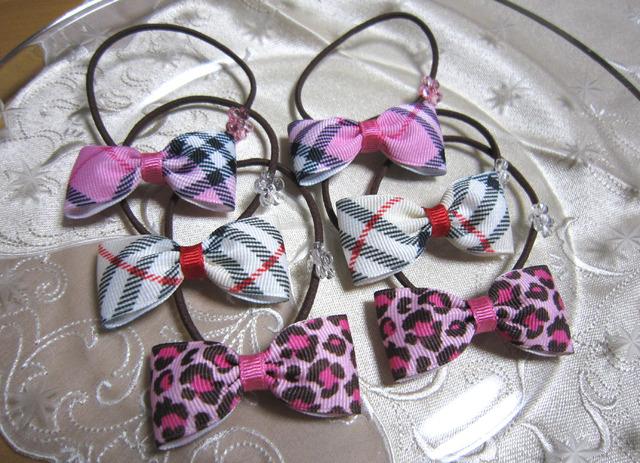r13_小学校入学準備に1♪ ピンクなど リボン2個×3種類セット ヘアゴム