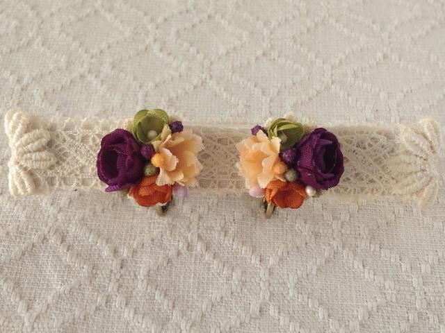 小花のくっつきイヤリング(紫&オレンジ&緑)