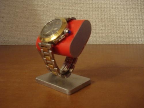 コンパクトだ円腕時計スタンド ベルトコルク台座接触バージョン レッド