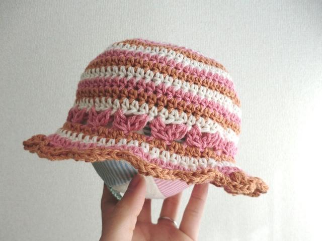 ボーダーのつば付きベビー帽子 42cm ピンク