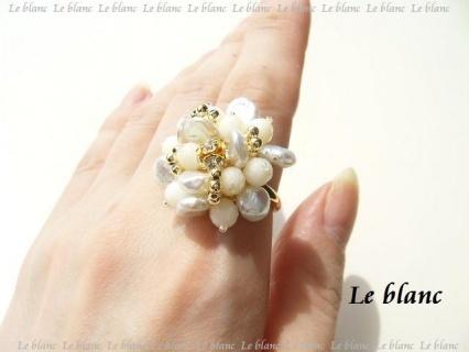 白サンゴと淡水パールのリング(white)