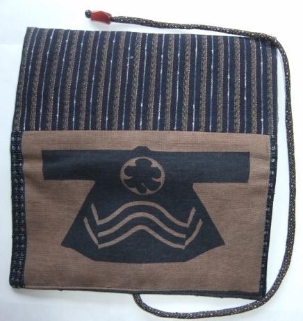 着物リメイク 唐桟縞の着物と半纏柄で作った和風財布 145