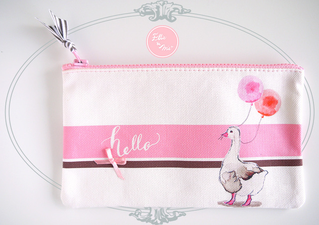 【Sale!!】オシャレアヒルのお散歩ピンクスリムポーチ