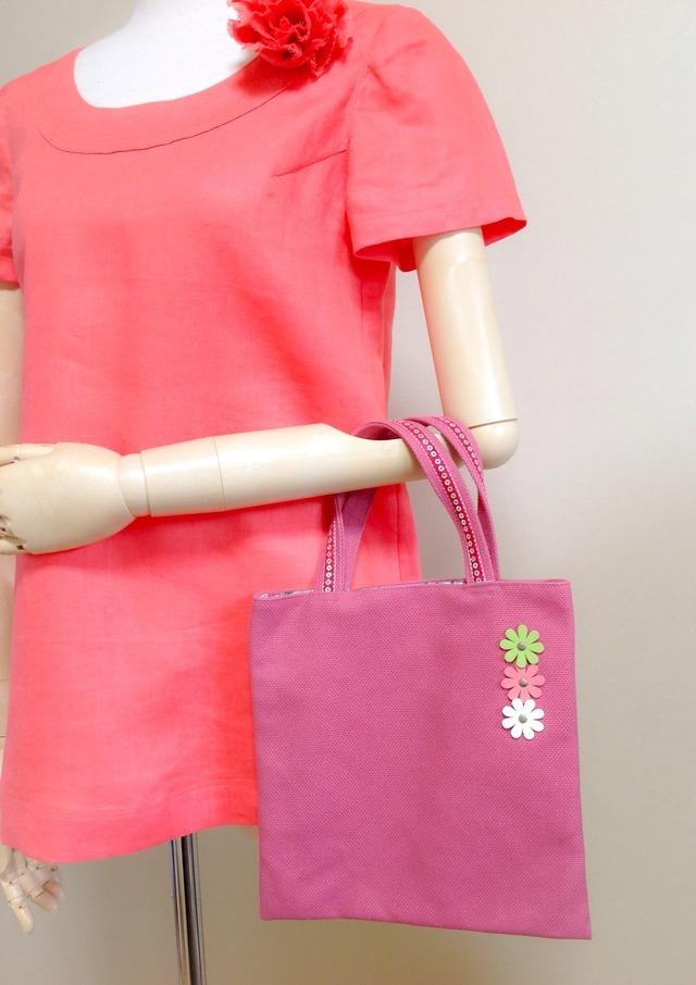 ★値下げ★手さげバック(ピンク3色花)