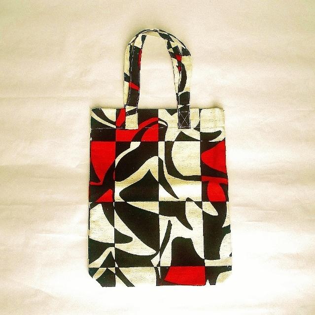 タテ型レトロ柄トートバッグ/ショッピングバッグ