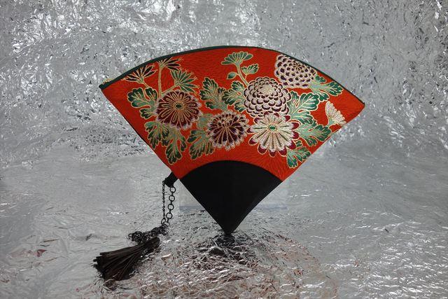 西陣織 金襴 扇形クラッチバッグ 菊地紋菊尽し プロトタイプ