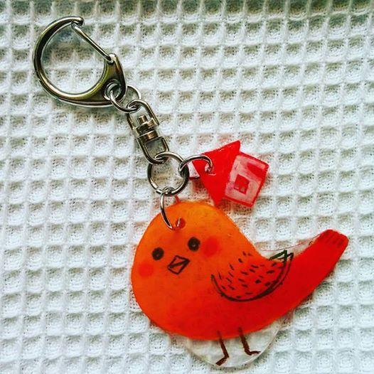 ぷっくり赤い鳥&赤いおうち プラ板キ...