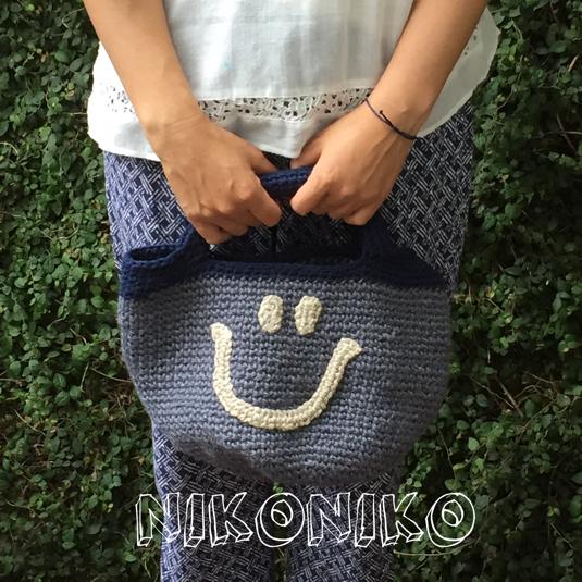 再販   送料込みニコちゃん麻のバッグ